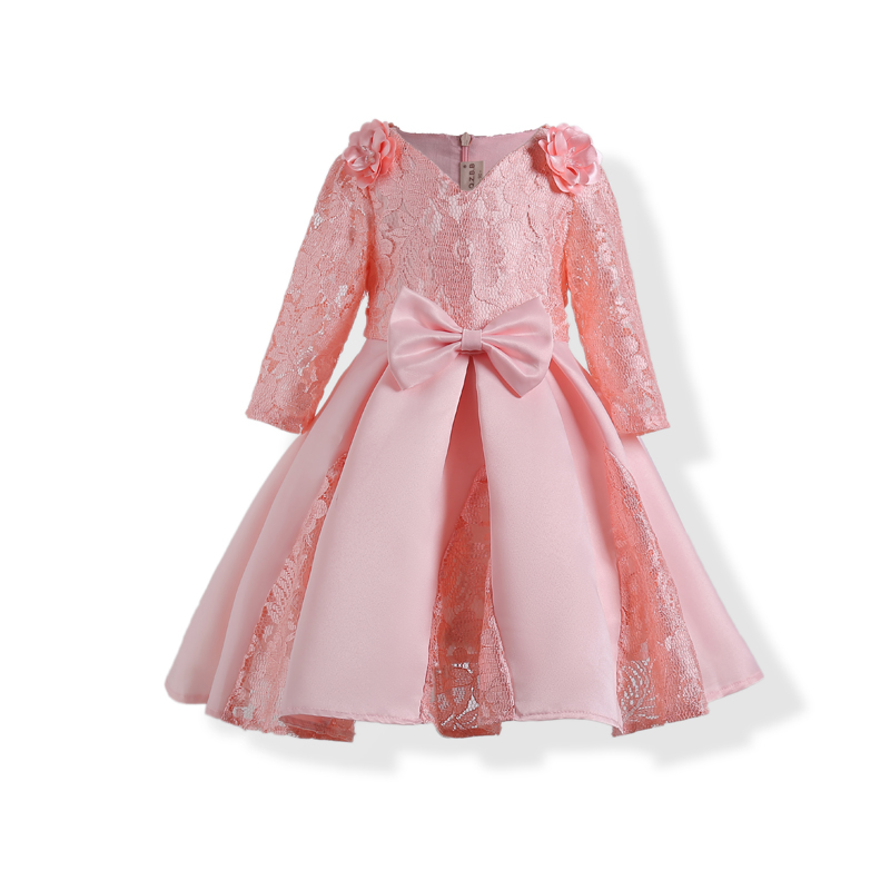 Formal Party Children Flower Dress Spring Autumn Long Sleeve Girl Princess Pink V-Neck Dress Kids Clothes For 3-10Y Children 3g gps tracker mini kids gps locator rf v42 wcdma gsm track child elderly tracking gps wifi lbs positioning fall alarm camera