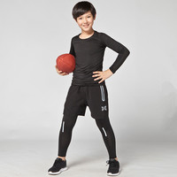 2017 Kids Mens Basketball Sports Suits Quick Dry Running Set Sports Fitness Compression Underwear Soccer Training