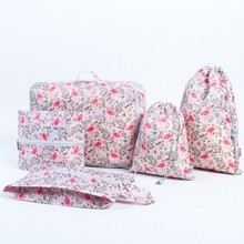 Hot 5pcs beautiful flamingo design Printed waterproof Oxford cloth storage bag Classification package free shipping