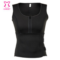 Black Rubber Zipper Control Tummy Hot Neoprene Body Shaper Slimming Waist Trainer Latex Corset Vest Women Shapewear Plus Size