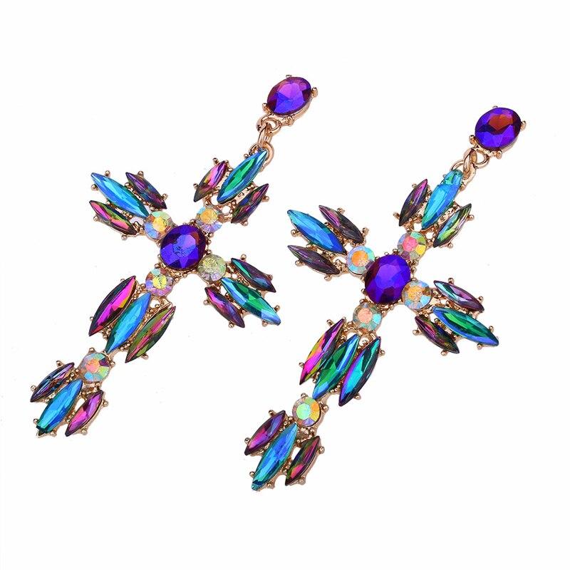 5b33986a15 Colorful Cross Earrings For Women Large Big statement Earrings 2019 ...