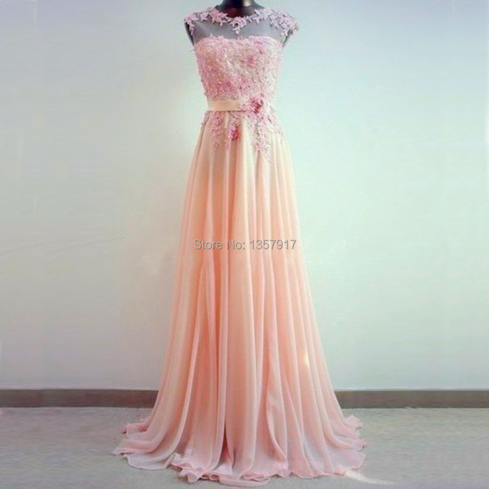 E lace hand-made wedding Amazing Light Coral Lace A-Line Round Neckline Sweep Train Prom Dress.jpg