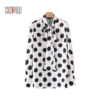 Vintage Autumn Polka Dot Pearl Beading Shirts Bow Tie Collar Long Sleeve Pleated Blouse Female Side