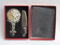 Plateado plata antigua del Tíbet de China. cuentas de cristal del espejo peine