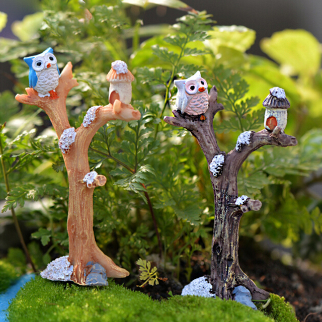 1 PCS Mini Tree Branches Resin Miniatures Owl Fairy Garden House Kit ...