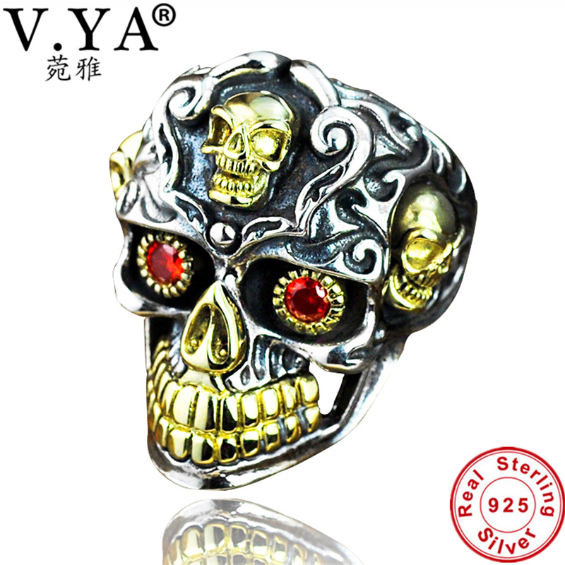 V.YA Real 925 Sterling Silver Skull Men Rings Super Cool Punk Style Thai Silver Big Size Ring With Red Stone Men's Jewelry punk skull ring style men s quartz analog watch black silver 1 x cr2012