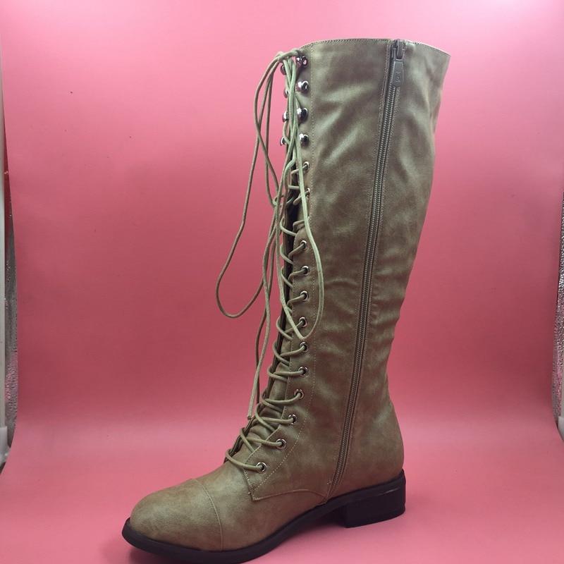 Khaki Winter Boots Women Flat Heels Round Toe Ladies Boots Shoes Women Botas Altas Mujer Female Winter Boots With Plush khaki winter boots women flat heels round toe ladies boots shoes women botas altas mujer female winter boots with plush