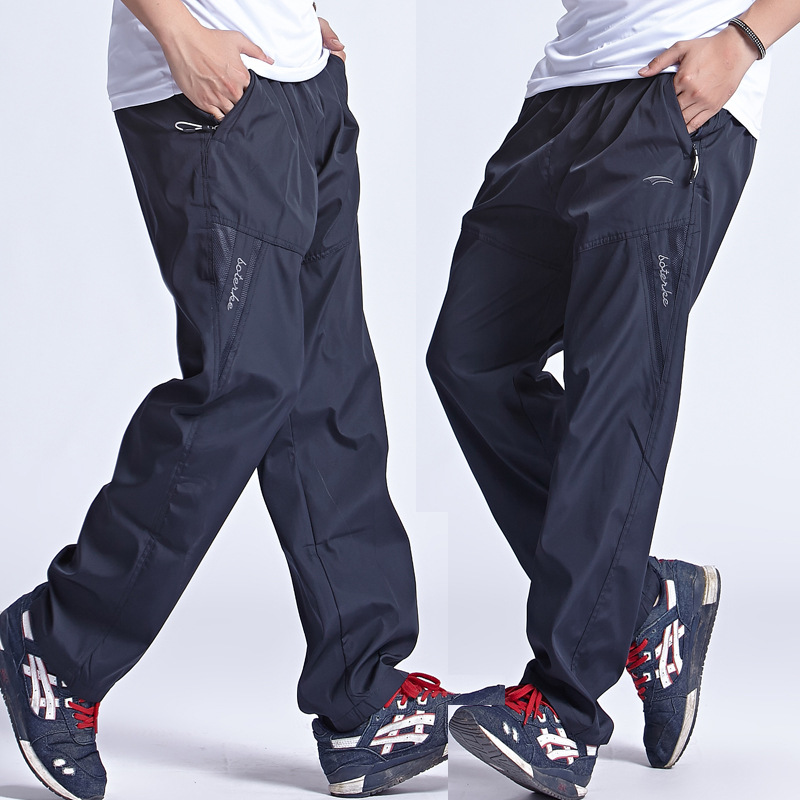 New Quickly Dry Breathable Exercise Pants Men Elastic Waist Men Active Pants Outside Trousers Sportwear Plus Size 3XL,PA095