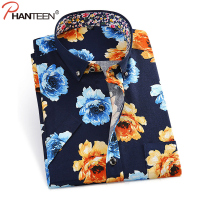 Phanteen Summer Short Sleeve Man Shirt Floral Print Slim Fit Camisa Masculina Casual Beach Style Men