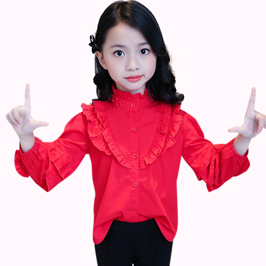 Blouse For Girls Long Sleeve Girls Shirt In School Spring 2019 Kids Blouse Teen Girl Clothing 6 8 12 Years Children's Costume