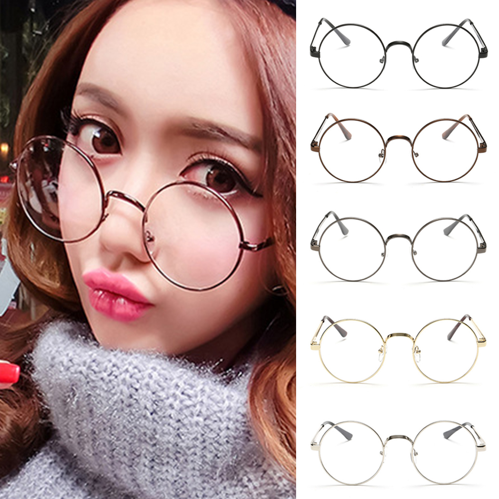 Retro Alloy Elegant Vintage Round Glasses Frame Female Spectacle Plain Glasses Eyeglasses Eyewear Gafas De Sol