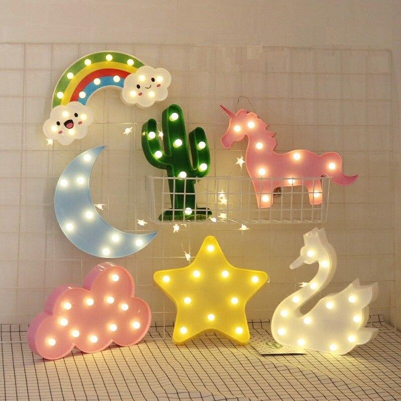 Led Flamingo Unicorn Night Lights Pineapple Cactus Star Luminary