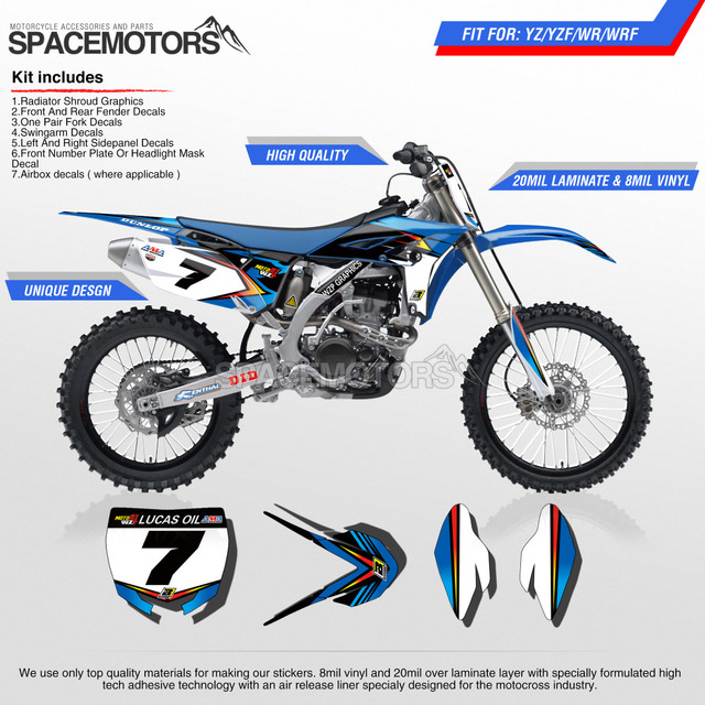 Motorcycle custom 3m wrap decal graphics kit for yz f yz wr wrf 10