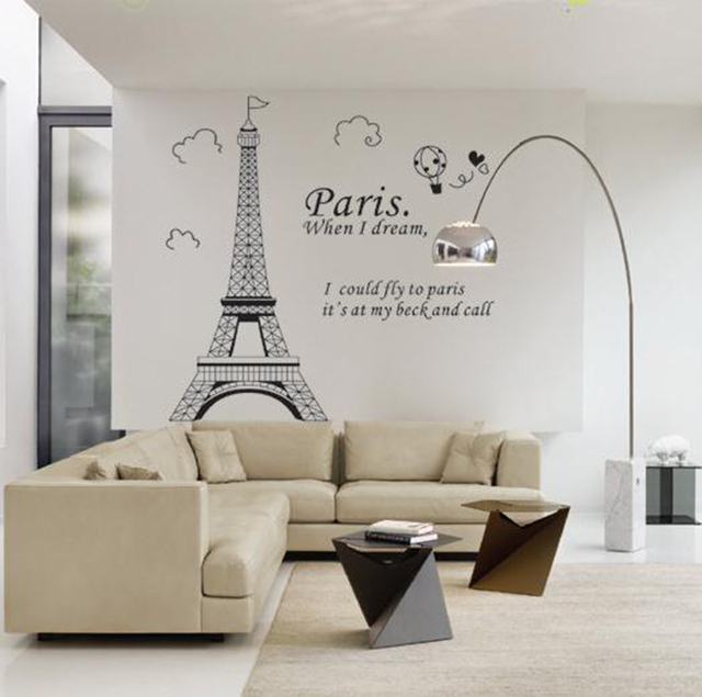 Wall Stickers Paris The Eiffel Tower Living Room Bedroom Tv Sofa Background Decoration Removable Pvc