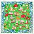 130*130 см женщина зеленый большой площади шелковый scarf2016new леди модный бренд лодка печати шелковые шарфы женщин весной шелк шарфы платки