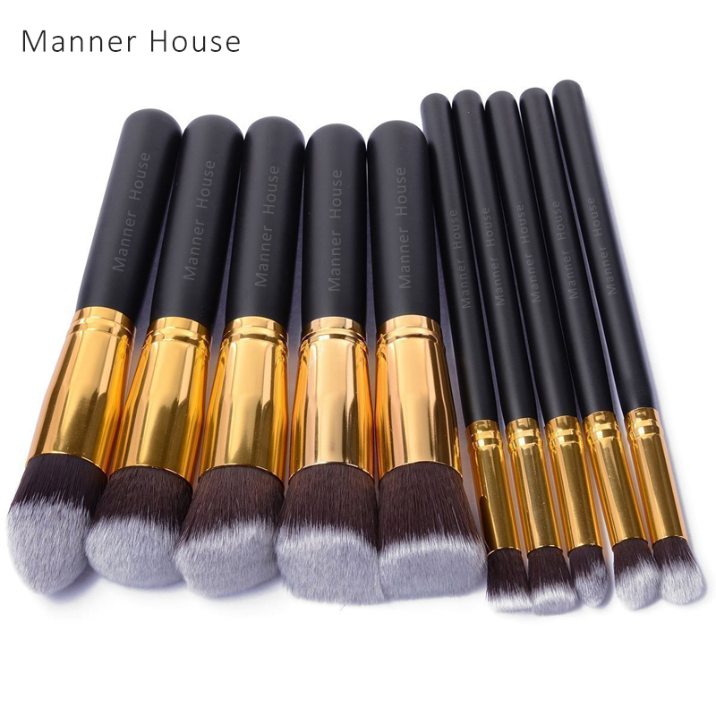 10 Pcs/set Professional Makeup Brushes Set Cosmetics Brushes Practical Makeup Powder Brushes Soft Cosmetic High Quality Makeup casserole set