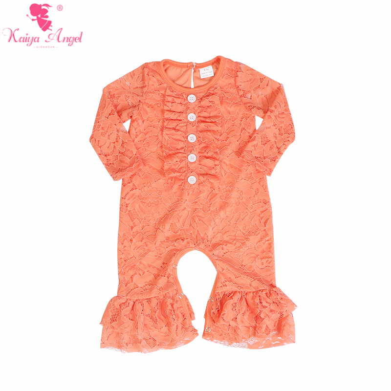 Image 3 - Kaiya Angel Newborn Girls Long Sleeve Peach Lace Romper Fashion  Kids Autumn Style Ruched Jumpsuit Factory Wholesale One PieceRompers
