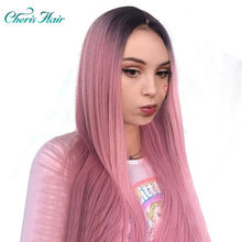 Synthetic Pink Long Wigs Dark Roots Elastic Lace Average Size Hat Long Pink Beautiful Wavy Long Wigs For Women Wigs With Bangs(China)