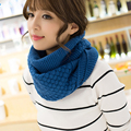 2016 hot Fashion knitted scarf women  Pure neck Woolen Scarf Autumn Winter Scarf Women Warm shawls 2 Circle Cable Knit Long Ring