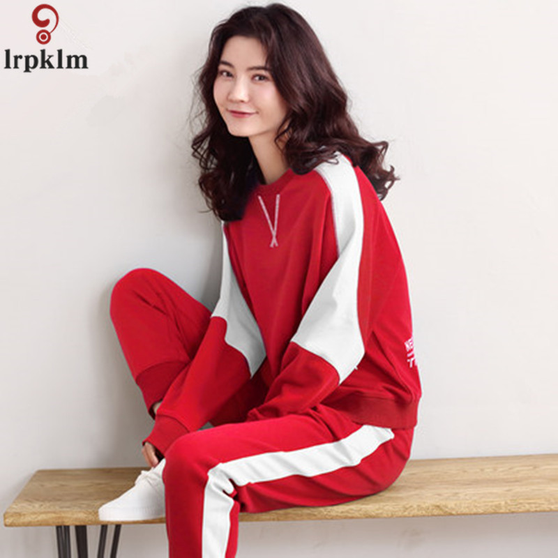 Women\`s sports pajamas autumn cotton long-sleeved home service size ladies suit loose tops plus elastic pants two sets of women\`s pajamas (24)