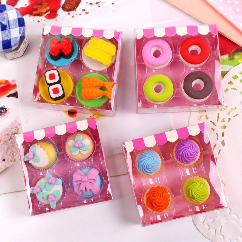 Free ship!1lot=12set!Sweet delicacy cake food rubber eraser / exquisite PVC small box  packing erasers set/ children gift-in Eraser from Office & School Supplies