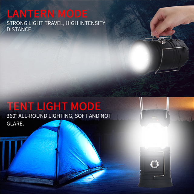 Outdoor Survival Camping Light 18560 Battery Solar Light Waterproof LED Collapsible Portable Lantern For Backpacking Beach Tents 1