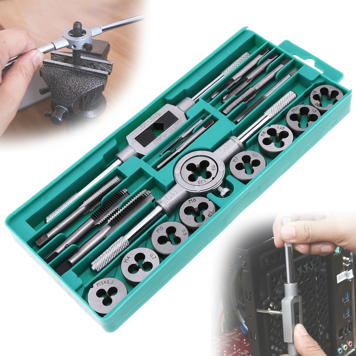 20pcs Tap & Die Set 1/16-1/2 Inch NC Screw Thread Plugs Taps Alloy Steel Hand Screw Taps Dies freeshipping mini taps dies metric set m1 m2 5 screw thread plugs taps hss screw taps with tap wrench hand tools 30pcs