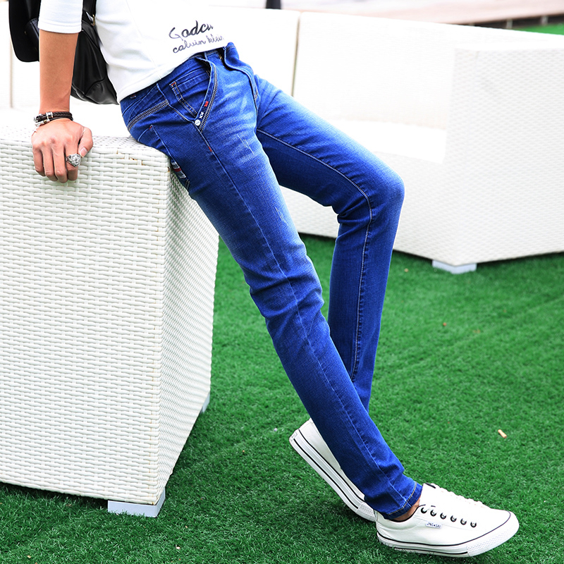 Mens Cotton Jeans 2017 Fashion Slim Male Cowboy Trousers  Business Men Pants Popular Hot Sale Size 27 LEFT ROM Blue Elasticity free shipping 3pcs 6mm hrc55 d6 15 d6 50 4flutes flat end mills spiral bit milling tools carbide cnc solid carbide router bits