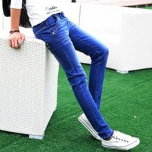 Для мужчин S Хлопковые джинсы Мода 2017 г. тонкий мужской ковбойские штаны Бизнес Для мужчин Брюки для девочек Популярные Лидер продаж Размеры 27 левую Встроенная память синий эластичность