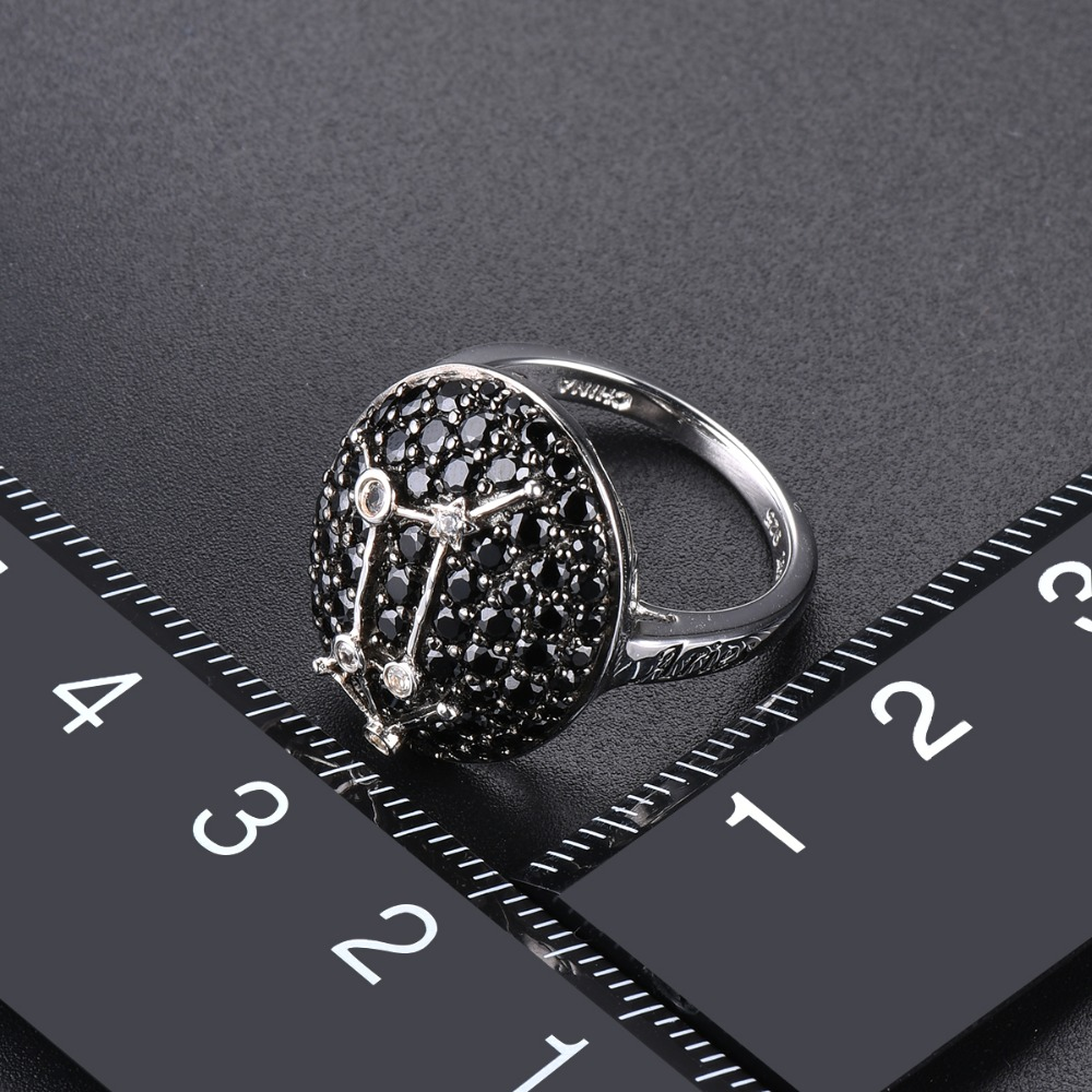 Hutang Aries Black Spinel Jewelry Sets Pendant Ring 925 Silver Sign Fine Jewelry for Women Best Gift 21th March Until 22th April