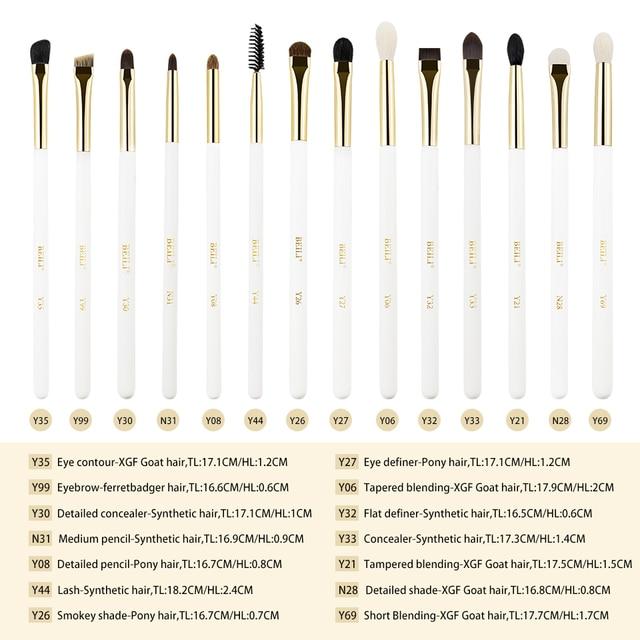 BEILI Luxus 14 stücke Augen make-up pinsel set Perle Weiß Gold XGF Ziege pony Haar auge blending augenbrauen smokey lidschatten 2019 neue