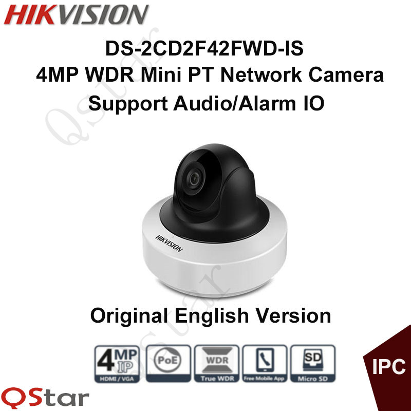 Hikvision Original English Version DS-2CD2F42FWD-IS 4MP POE MINI IP PT Camera Bulid-in SD Card Slot H.264+ Audio CCTV Camera