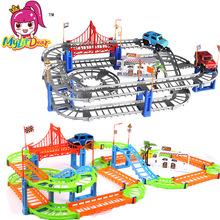 MylitDear New 2 Style Colorful Rail Car Toys Multilayer Tren Eléctrico Track Cars Modelo Juguetes para Niños Mejores Regalos