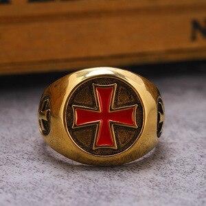 Ретро кольцо с красным эмалированным крестом, Золотое винтажное мужское серебряное кольцо на палец, кольцо тамплиера