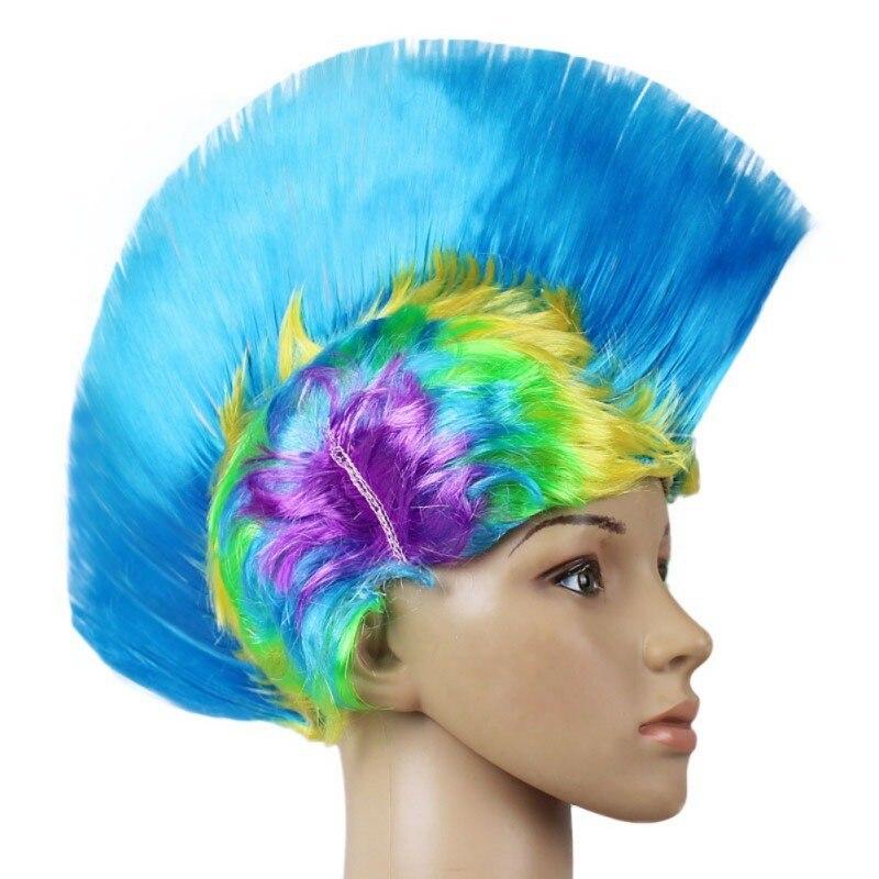 Hot Rainbow Mohawk Hair Wig Fancy Costume Punk Rock Wigs Halloween Cosplay Party 2