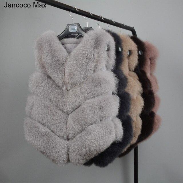 Jancoco MAX Женские 4 ряда меховой жилет Настоящее мягкие толстые лисий мех жилет женские зимние из натуральной кожи модные жилет оптовая продажа /Розничная продажа S1677