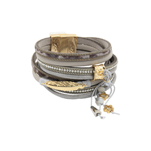 Fashion Trendy 4 Rows Chain/Leaf/Beads/Crystal Set Genuine Leather Wrap Bracelet For Women