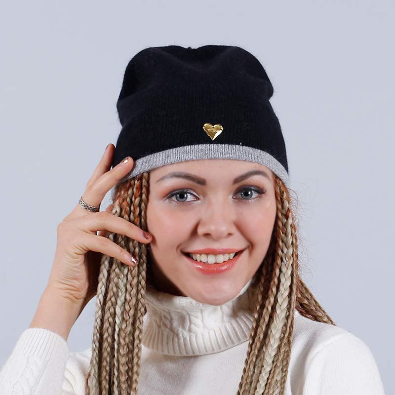 YHKGG Heart Knitted Wool Beanies Fashion Skullies Casual Thick Warm Hats For Women  Female  Caps Free Shipping H2050C- skullies