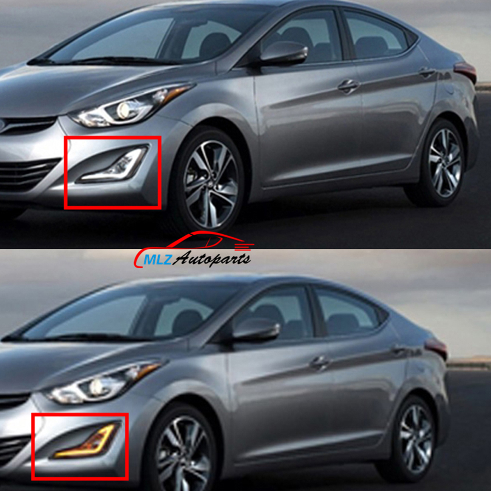 LED Daytime Running Light Fog Lamp With Turn Sign White and Yellow For Hyundai Elantra 2012 2013 2014 2015 DRL ветровики korea hyundai elantra 2013 avante md 2013