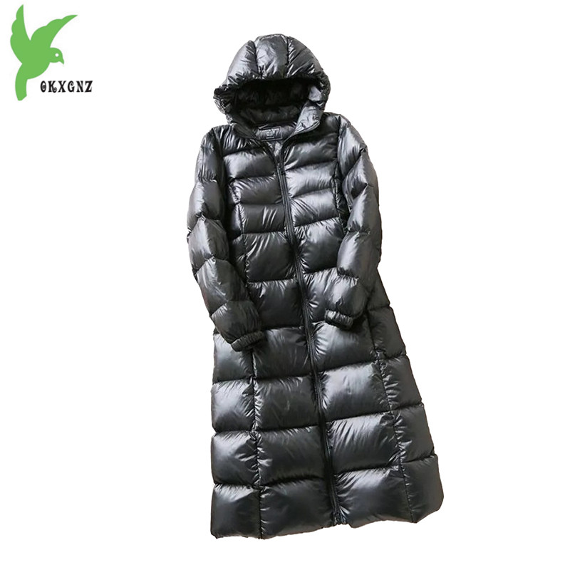 Hooded Long   Down     Coats   2018 Winter   Down   Jacket Women High quality White duck   down     Coat   Thicken Warm Jacket Female Plus size 2264