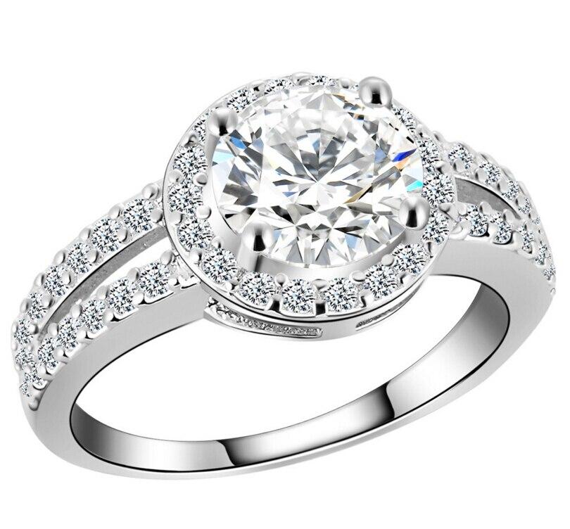 Anenjery роскошные свадебные кольца мерцающий микро проложить 2 карат Циркон сердца и стрелы кольца Полный Кристалл anillos для Для женщин T-R33