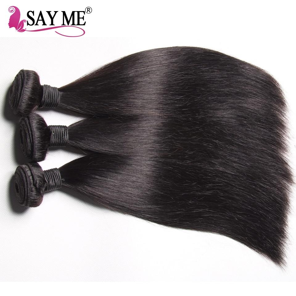 Säg mig brasilianska Straight Virgin Hair Weave Bundles 10-26 tums - Mänskligt hår (svart) - Foto 3