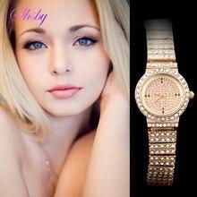 shsby new girls's luxurious rose gold full rhinestone skysat watch girls costume watches girls style reward