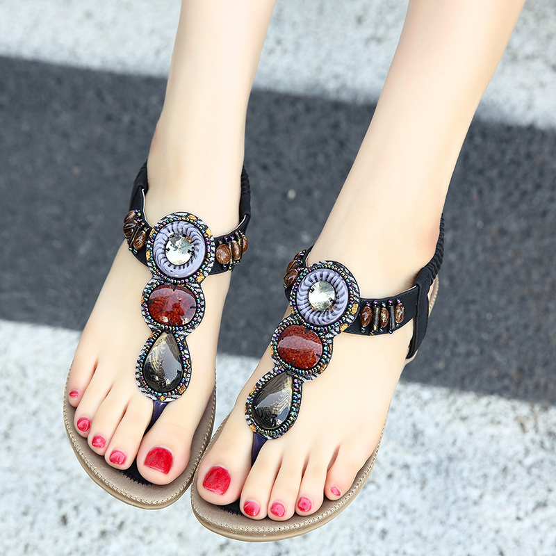 Sandals Women Luxury Rhinestone Flat Bottomed Female Students Flat Summer Shoes Bohemia Water Drill National Wave Sandals timetang flat sandals t strap fashion trend sandals bohemia national flat heel beaded female shoes sale women shoes