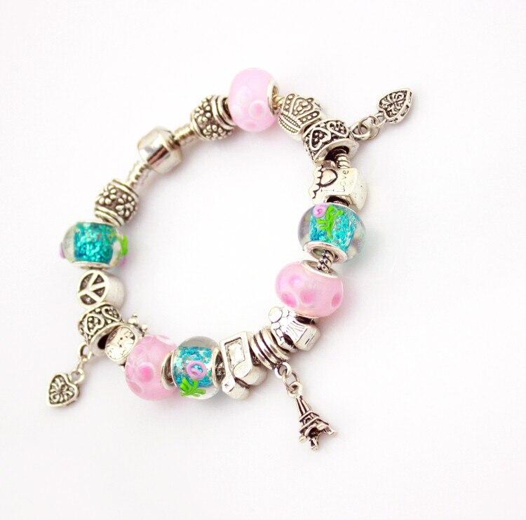 (Mit Box) PB ilver Lucky Clover Charm Armbänder mit Klar Murano Glas Perlen Armband für Frauen Mädchen Schmuck Geschenk