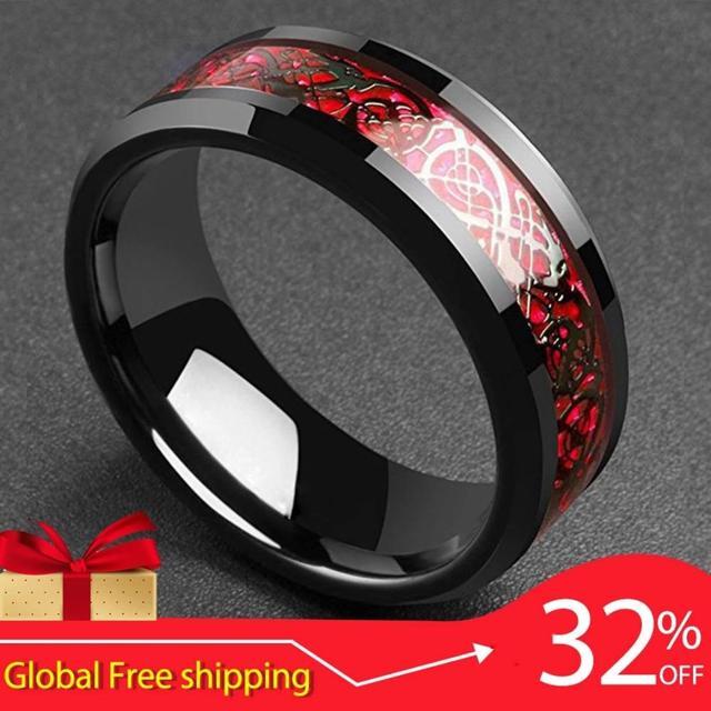 FntYcm 8mm De Fibra De Carbono Vermelho dos homens do Dragão Celta Preto Dragão Carbide Anel Comfort Fit Anéis de Casamento Dos Homens para a Banda A232