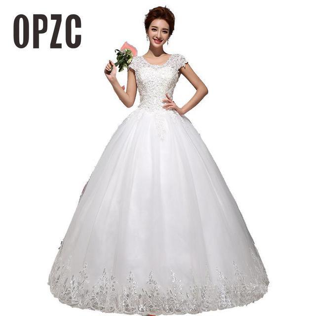 חדש באביב ובקיץ אופנה שמלות כלה 2017 vestido דה noiva קוריאני סגנון לבן תחרה עד כדור שמלת כלה נסיכה