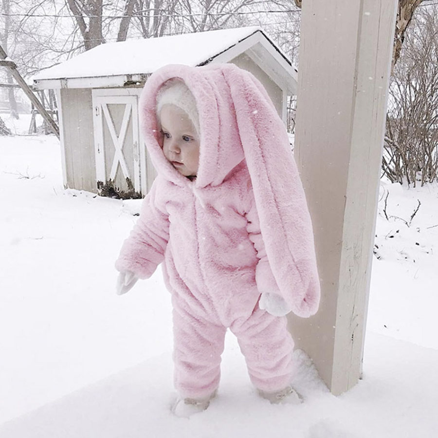 Children's Clothing Baby Rabbit Ear Falahunan Hooded Siamese Newborn Baby Rompers Warm Winter Jumpsuit Costume Baby Girl Clothes baby rompers autumn winter warm newborn baby girl clothes set cute 3d bear ear jumpsuit baby boy clothes set baby clothing sets