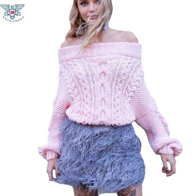 74226f46e7c Fashion New Off shoulder Loose Sexy Knitwear Women Twist Sweaters and  Pullovers Long Sleeve Women Jumper Knitted Tops Pull Femme