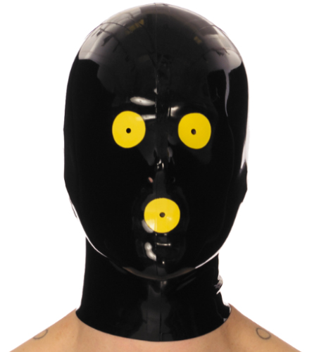 Black with yellow sexy latex mask eyes mouth opening Hood 100 latex material club clothing headwear accessories